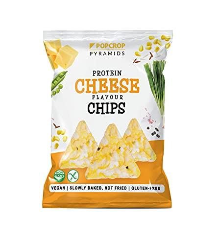 POPCROP Chipsy Proteinowe Wegański Ser & Cebula, 5 x 60 g | powoli wypiekane z kukurydzy, zielonego geroszku, ryżu i soczewicy | NIE SMAŻONE | Bezglutenowe, Wegańskie, Bez Cukru, Czysty skład | 300g