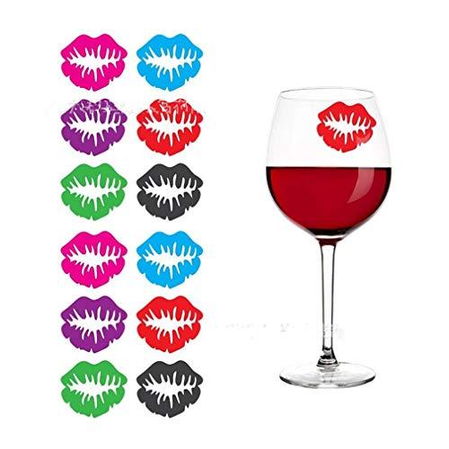 Nigoz - Juego de marcadores de cristal para copas de vino, 6 piezas, ideal para decoración de fiestas, Navidad, labios de excelente calidad, práctico y económico