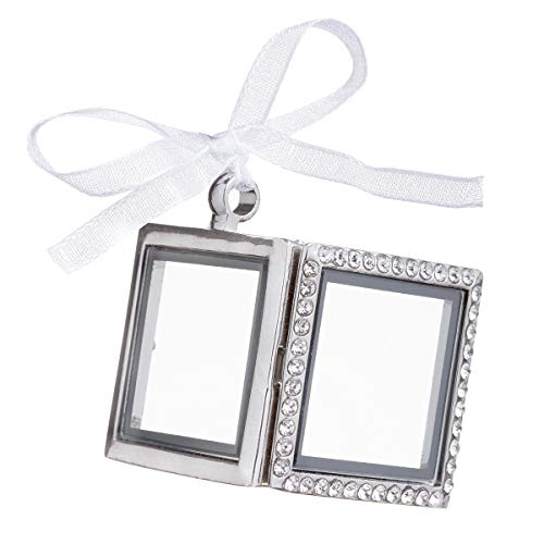 David Tutera Silver Picture Frame Charm: Acetate Windows with Magnetic Closures, Gemstone Accents, 1 x 1 Inch