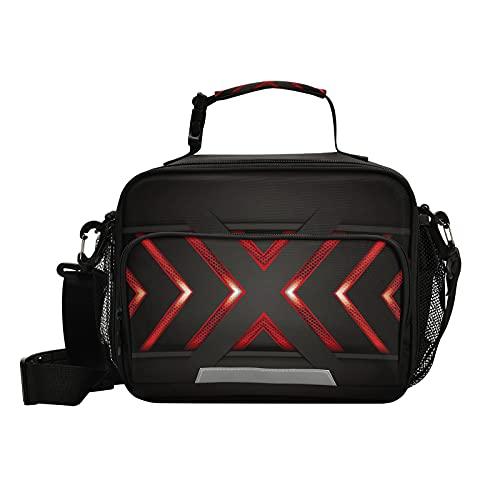 Bolsa de almuerzo metálica negra y roja X para mujeres y hombres aislada lonchera para la escuela, estudiantes, niñas, negocios, picnic, viaje, bolsa de refrigeración con correa para el hombro