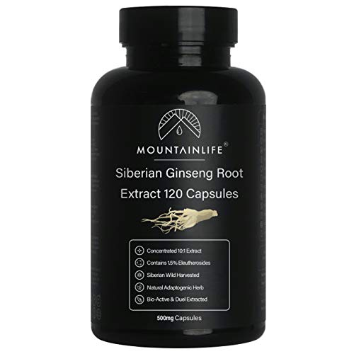 Mountainlife Siberian Ginseng Extract Capsules, 120, Wild Harvested in Siberia, Natural & Organic Herbal Adaptogen Powder, Herb for Energy, Longevity & Vitality, Fine Ground Ginseng Root Powder