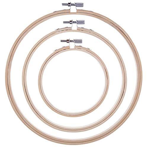 Haude - Juego de 3 anillos de punto de cruz de bambú para costura, 3 tamaños