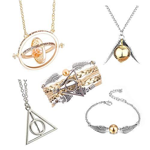 Set di collana di HP con scritta 'Time Turner Golden Snitch Doni della Morte per i fan di HP, idea regalo per la collezione di gioielli, 5 pezzi