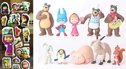 HIMEX BRANDS Masha and The Bear Playset 10 Pcs FiguresParty Supplies Cake Toppers Free Stickers