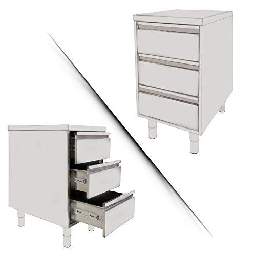 Cassettiera 100% Acciaio Inox | 3 Cassetti e Piano Lavoro | Comodino con Piedini Regolabili | Disponibile con Alzatina Paraschizzi | Mobiletto Cucina Ufficio Made in Italy