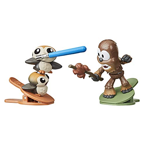 STAR WARS Battle Bobblers Porgs Vs Chewbacca Clippable Battling Action Figure 2-Pack, Toys for Kids Ages 4 and Up