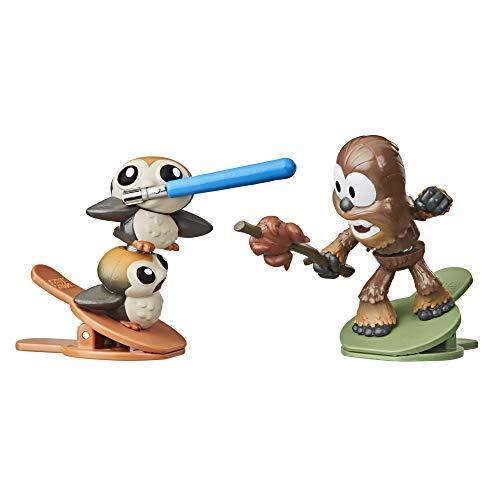 Star Wars Battle Bobblers Porgs Vs Chewbacca Battle Action-Figuren 2er-Pack mit Clips, Spielzeug für Kids ab 4 Jahren