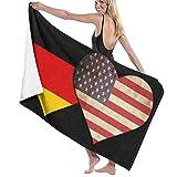 Yuanmeiju Unisex German Flag and American Flag Bath Towel Adult Soft Microfiber Printed Toalla de Playas Travel Towel 32x52 Inches