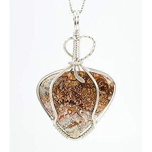 Crazy Lace Agate Argentium Sterling Silver Pendant Necklace