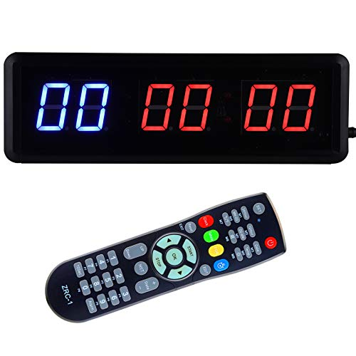 Gym Timer with Remote, Kacsoo 1.5 Inch 6 Digits LED Interval Timer, Down/Up Clock Stopwatch, Workout Timer for Home Gym Fitness Workouts, Ultra-Brightness & Dimmable, Wall Mount Brackets Included