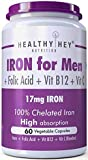 HealthyHey Iron Supplement for Men -100% Chelated - With Vitamin B12, Folic Acid