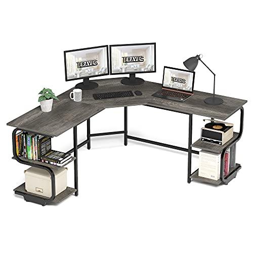 Teraves Modern L Shaped Desk with Shelves,Computer Desk/Gaming Desk for Home Office,Corner Desk with Large Desktop (Black Oak+Black Frame, Large+4 Tier Shelves)