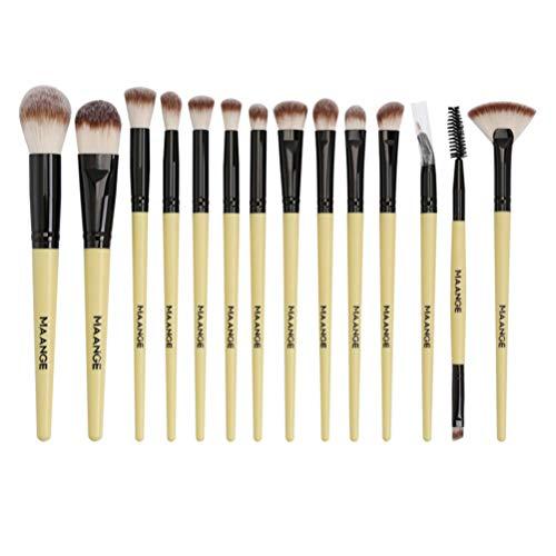 Solustre Pinceaux de Maquillage 14Pcs Poignée en Plastique Brosses Cosmétiques Pinceaux de Maquillage Professionnels Set Outils de Beauté (Poignée Noire Tube Noir)