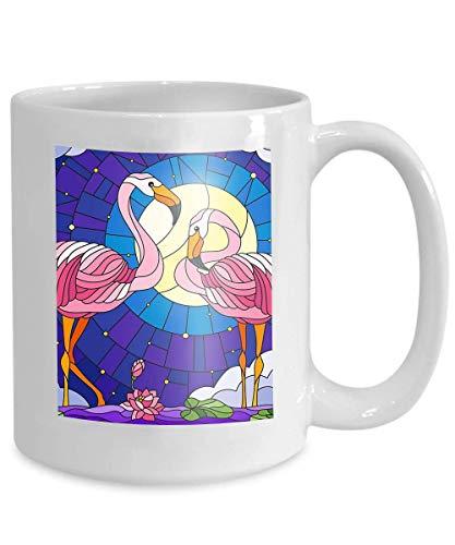 N\A Taza de café Divertida - Taza de café Blanca de cerámica Ilustración Estilo de vidriera Par Flamingo Flores de Loto Cañas Estanque Luna Cielo Estrellado Nubes Hermoso