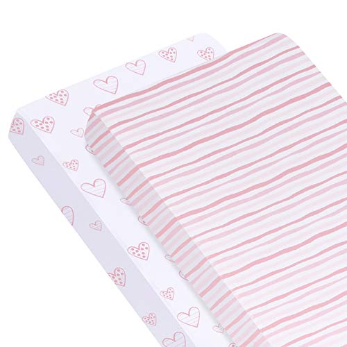 Biloban Crib Mattress Sheet Stretchy Fitted Egyptian Cotton Crib Sheets Set 2 Pack, Ultra Soft and Breathable 100% Jersey Knit Cotton Crib Sheet for Standard Crib and Toddler Mattress for Baby Girls
