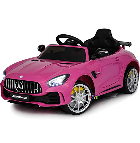 Ride On Car 12V Mercedes - Ride On Toys - Battery Powered Electric Car for Baby - with Parental Remote Control - Kids Ride in Car w/ Spoiler Mercedes GTR MP3 Plastic Wheels Horn Pink