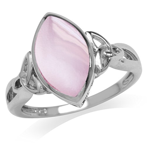 Silvershake Pink Mother of Pearl White Gold Plated 925 Sterling Silver Triquetra Celtic Knot Solitaire Ring Size 6