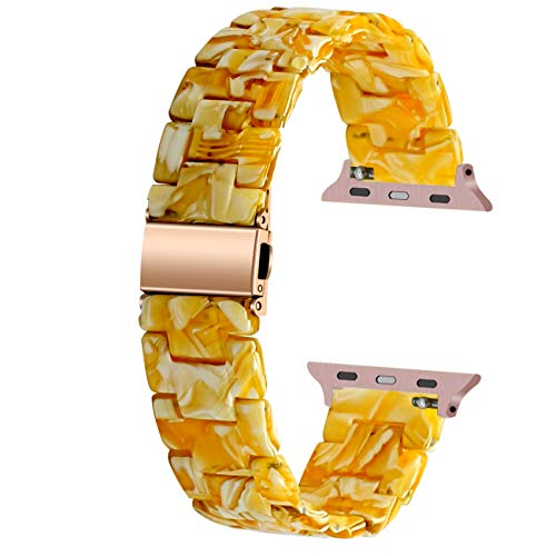 Juntan Resin Uhrenarmband Compatible for Apple Watch 42mm 44mm Smart Armband Edelstahlschnalle Sportbands iWatch SE Series 6 5 4 3 2 1 Elfenbeinweiß
