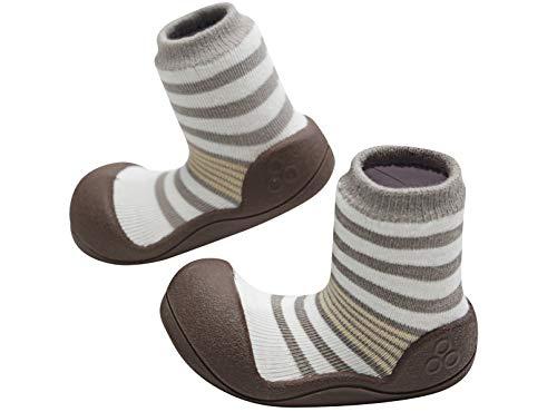 Attipas Natural - Ergonomische Lauflernschuhe mit Baumwolle | Kinder, Baby Hausschuhe, | biegsam, Atmungsaktiv, Rutschfeste Sohle, Braun, 19 EU