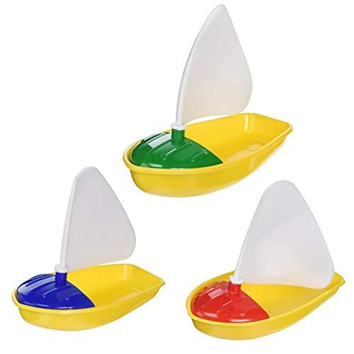 TOYANDONA 3 x Badeschiff-Spielzeug, Kunststoff-Segelboote Spielzeug für Badewanne und Segelboot für Kinder (verschiedene Farben, klein + mittel + groß)