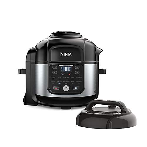 Ninja Foodi 6.5qt Pro 11-in-1 FD302 Sous Vide, Pressure Cooker, Air Fryer/Crisper, Dehydrate, Slow Cook, Steam, Make Yogurt, Bake/Roast, Sear/Sauté, and Keep Foods Warm Inside the Pot, with a Stainless Finish PLUS 2 Accessories