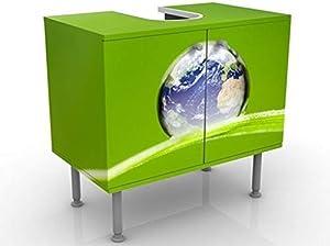 Apalis Mobile per lavabo Design Green Hope 60x55x35cm, Basso, Larghezza: 60cm, Regolabile, mobiletto da lavandino, lavandino, mobiletto da lavabo, lavabo, mobiletto, Bagno, Bagnetto, Mobile da Bagno