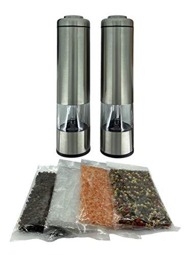 Boise Salt Co Elektrische Salz- und Pfeffermühle mit Himalaya-Rosa, pures Meersalz, Regenbogen-Mix und Tellicherry-Pfeffer inklusive Edelstahl, batteriebetrieben, LED-Licht, verstellbar