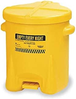 Eagle 933-FLY Oily Waste Polyethylene Safety Can with Foot Lever, 6 Gallon Capacity, Yellow