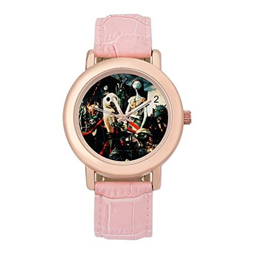 Nightmare Before ChristmasSeñoras Cinturón Cuero Cuarzo Reloj 2266 Cristal Espejo Redondo Rosa Casual Accesorios Moda Temperamento 1.5 pulgadas