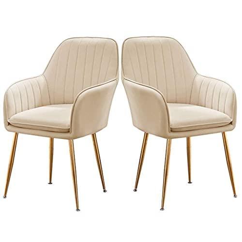 WYBW Silla de comedor para el hogar, sillas decorativas de cuero, silla de comedor moderna, sillas de cocina tapizadas para comedor con reposabrazos y patas de metal, juego de 2 taburetes de maquilla