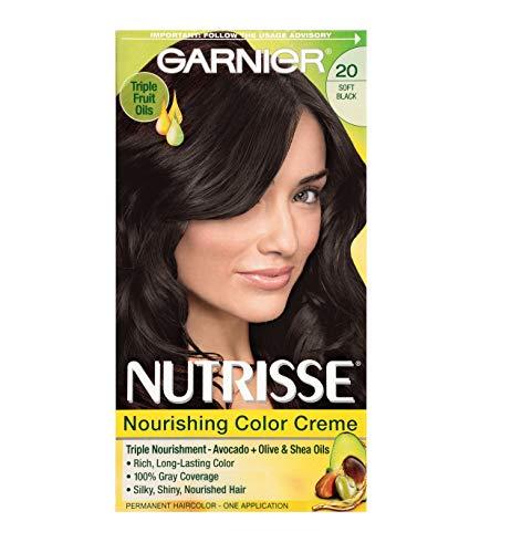 Garnier Nutrisse Nourishing Hair Color Creme, 20 Soft Black (Black Tea) (Packaging May Vary)