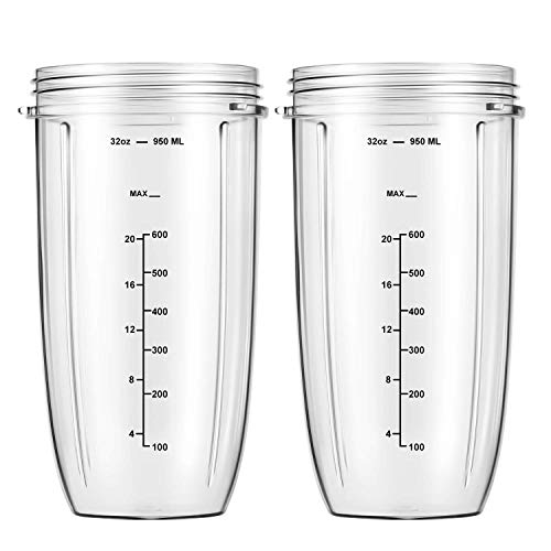 Replacement Parts 32oz Blender Cups (2 Packs) Replacement Blender Cups Compatible with NutriBullet 600w and 900w Blender