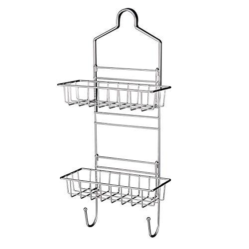 Plumboss E2050 Shower Caddy Over Shower Head Basket Shelf with Hooks for Hanging Sponge and Razor,Shampoo Holder Organizer Stainless Steel Chrome