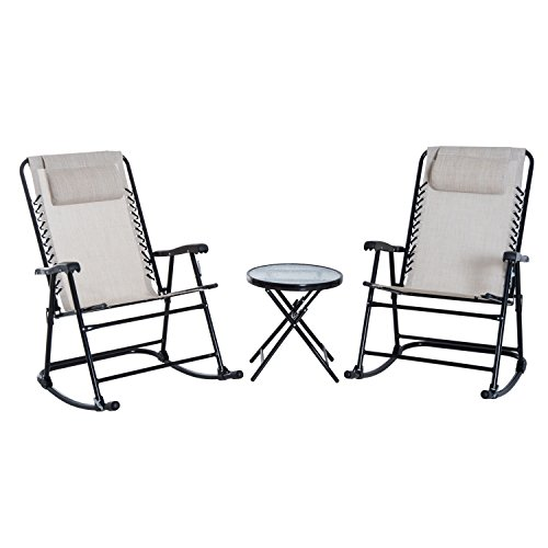 Outsunny 3 Piece Outdoor Rocking Bistro Set, Patio Folding Chair Dining Table Set, Cream White