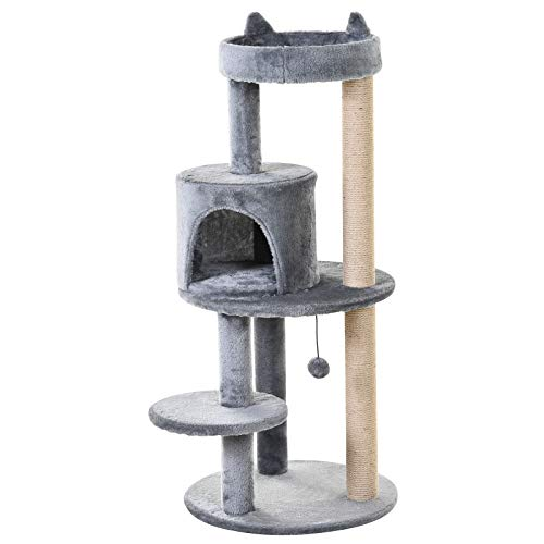 PawHut Cat Tree Tower Scratching Post with Sisal Pet Activity Centre Grey...