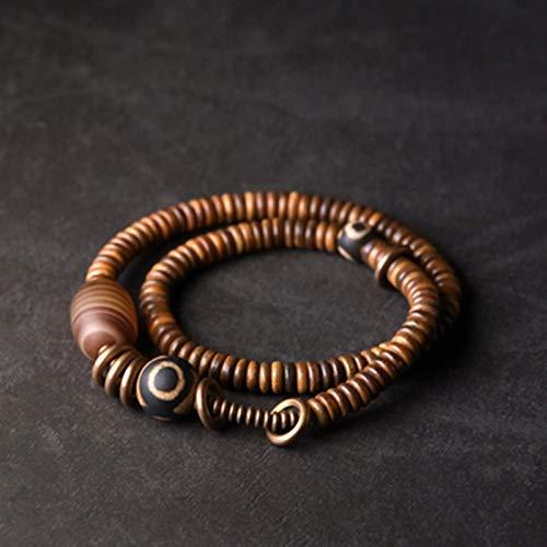 NJIANGHUA Pulseras para hombre y mujer, pulsera de varias capas, estilo vintage, de cobre procesado, cuentas tibetanas, brazalete de curación zen para hombres y mujeres, pulsera de cuentas de madera
