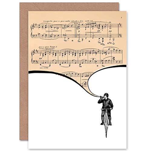 Wee Blue Coo wenskaart voor verjaardag, motief: trompet, speler, fiets, Engelse opschrift