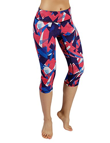 ODODOS Power Flex Printed Yoga Capris Tummy Control Workout Non See-Through Pants with Pocket,Triangle,Small
