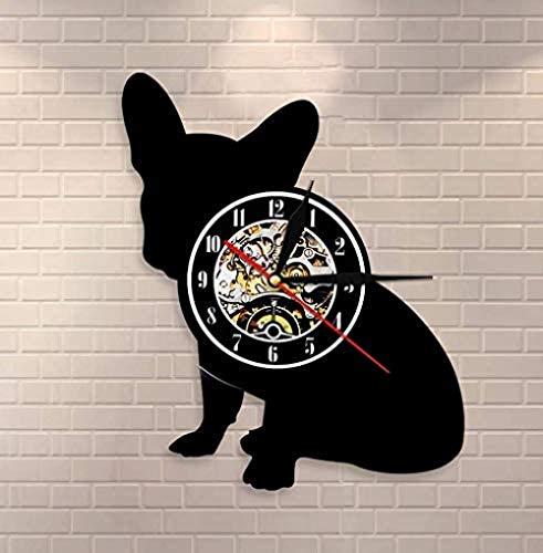 WTTA Reloj de Pared de Vinilo Reloj de Pared Bulldog francés Franco's Dog Breed Reloj de Pared de Vinilo Cachorro Mascota Decoración del hogar Reloj de Silueta de Perro