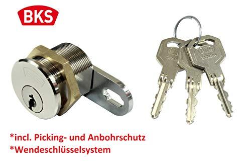 BKS Helius WS42 Hebelzylinder/Möbelschloss/Schrankschloss incl. Bohrschutz und Pickingschutz, Gewindedurchmesser M28, Gewindelänge 26mm