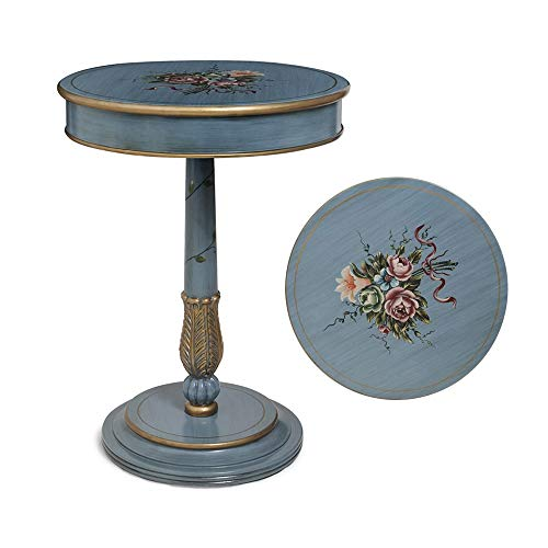 mesas de Centro Modernas Idílica Mesa Lateral de la Esquina de la Mesa Lateral Floral Pintada a Mano, Mesa de té de Muebles de Madera Maciza Redonda Azul Retro, Adecuada para Estudio de Sala de Esta