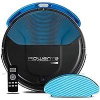 Rowenta RR6971WH Smart Force Essential Aqua - Robot Aspirador 2 en 1, Aspira y Friega, con Sensores Anticaída, 150 Minutos de Autonomía, Incluye Mando a Distancia y Base de Carga, Negro/ Azul Oscuro