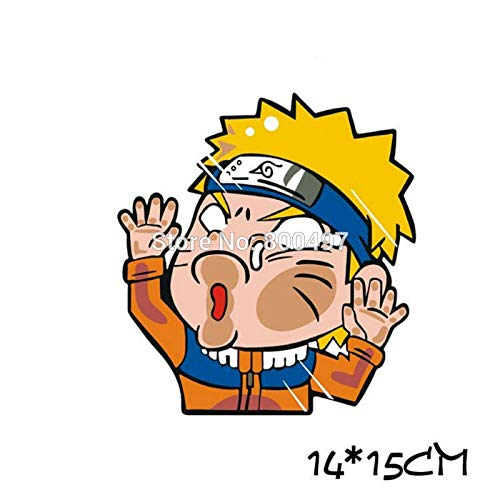 FENGLING Newest Car Styling Cartoon Naruto Hitting The Glass Car Stickers Decals for Toyota Chevrolet Volkswagen Tesla BMW Lada 14 * 15cm