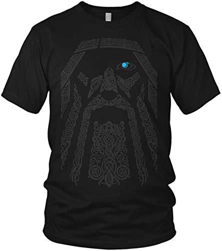 The Odin Runen Wikinger Rabe Valhalla Rising Walhalla Vikings Wodan - Herren T-Shirt und Männer Tshirt, Größe:4XL, Farbe:Schwarz Original Blau