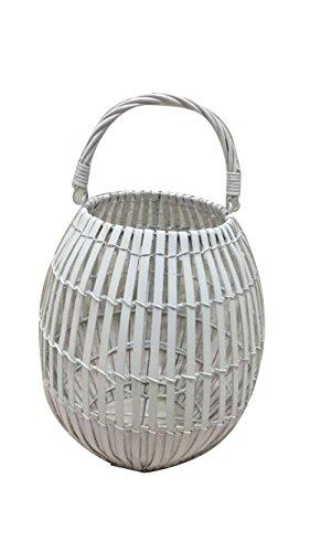 King Home L1766339 lantaarn bamboe met beker, wit, Ø 25 x H 40