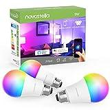 Novostella Smart Glühbirne E27 Alexa RGB, 7W LED Wifi Smart Bulb Google Home, Dimmbare Timing RGBCW...