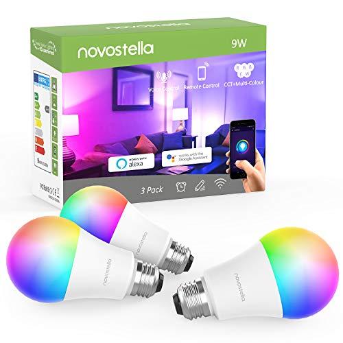 Novostella 9W 900LM LED Wlan Lampe Alexa Birne Dimmbar, RGB Wlan Glühbirne Timing warmweiß bis kaltweiß(2700K-6500K) E27 Sprachsteuerung für Alexa(echo, echo dot) Google Home App Fernbedienung