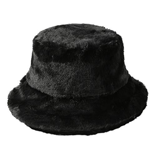 Tngan Winter Bucket Hat Women Men Warm Hats Vintage Faux Fur Fisherman...