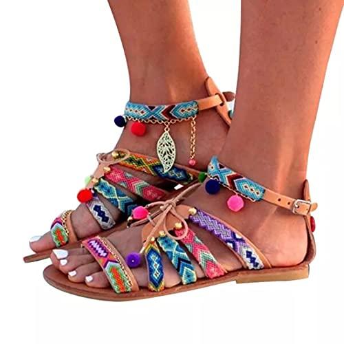 CNNLove Mujer Sandalias De Cuero Zapatos De Verano De Gladiador Bohemio Zapatos Planos De Verano Sandalias De Mujer con Pompones para Mujer,40