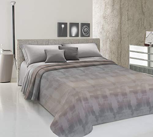 HomeLife Frühling Sommer leichte Tagesdecke [220x280], Qualität aus Italien|Hergestellt aus hochwertiger Baumwolle|Pinselstrich Motiv|Einzelbettdecke aus feinem Stoff für warme Jahreszeiten Beige